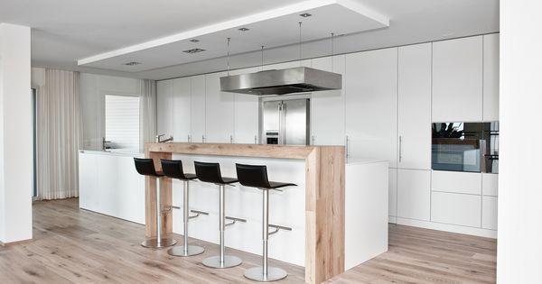 moderne küche kochinsel weiß matt holz theke kappa armony - wohn, Kuchen