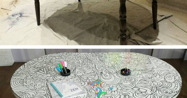 Diy Adult Coloring Table Use Rustoleum Dry Erase Paint