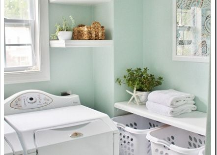 pretty wall color. Rainwashed by Sherwin Williams Love the laundry basket shelves