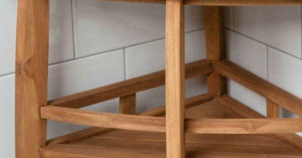 Teak Corner Shower Seat With Shelf Corner Shower Seat