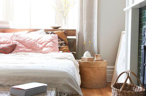 bedframe, bench, fireplace, wood floor