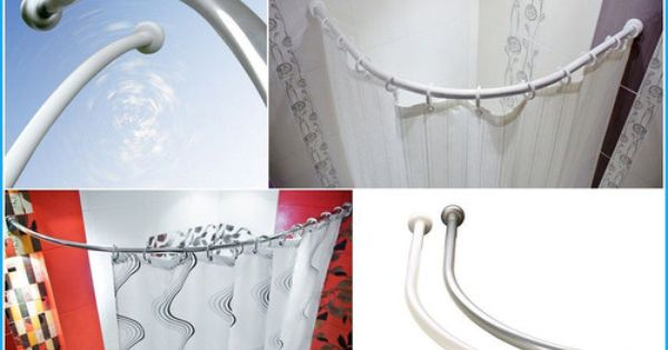 Details About Curved Bath Shower Curtain Rod Rail In White Or
