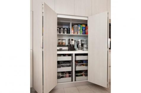 My Island Home Bi Fold Door Track Leading To An Appliance Pantry Cabinet Lots Of Drawers
