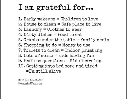 10 Things Mom is Grateful For - Printable