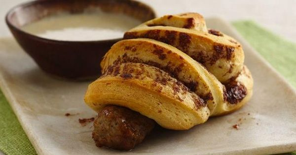 Cinnamon Roll-Wrapped Sausage with Maple Dipping Sauce Add these delicious rolls to