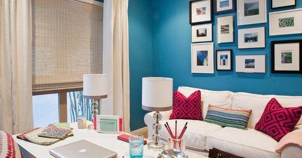 Blue White Pink Office Home Design Pinterest Blue