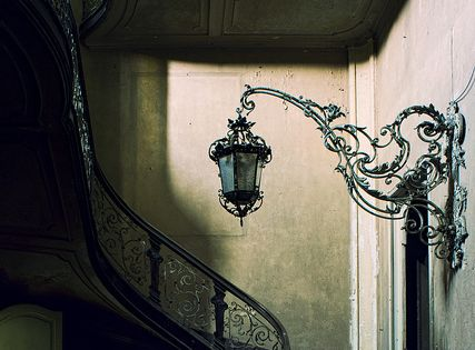 Stairway Lantern, France | dark | architecture