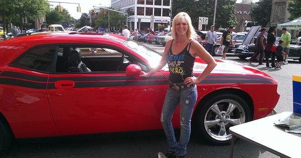 Our Friend posed by this Challenger at the Downtown New Britain Car show | Dodge & Mopar Girls ...