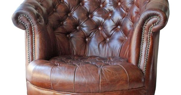Leather Barrel Tufted Chesterield Brown Leather Chair On