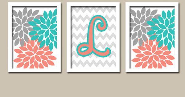Wall Art Nursery Artwork Girl Child Turquoise Coral Gray Monogram Flower Letter