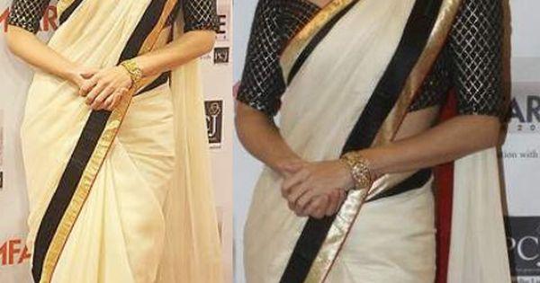 Diya mirza in designer white anamika khanna saree drapes for Asha ramachandran mural painting