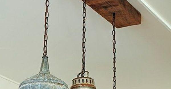 L mparas colgantes hechas de latas de aceite foto - Lamparas originales ...