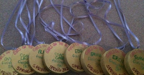 Personalized medals made out of wooden dowels for the practice 5k coach ideas pinterest for Cross country awards ideas