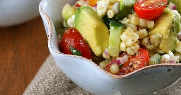 Avocado and grilled corn salad with cilantro vinaigrette. Yum! recipe salad avocado