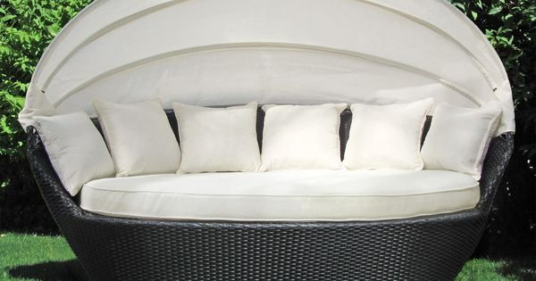 sonneninsel polyrattan garten lounge chill out sofa mit baldachin 200x120x140 garten. Black Bedroom Furniture Sets. Home Design Ideas