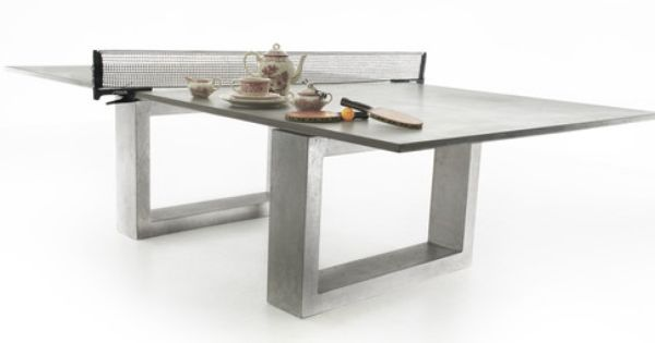 Ping pong dining table concrete and steel de wulf for Housse exterieur table ping pong