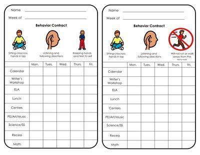 Behavior Plan Linky Party Behavior Plan Behavior Contract
