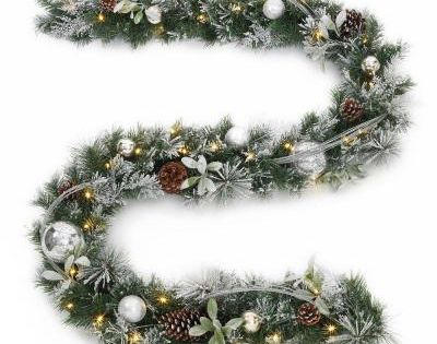 Home Accents Holiday 9 Ft Snowy Silver Pine Battery Operated Artificial Garland With 36 Clear Led Lights In 2020 Artificial Garland Led Lights Garland