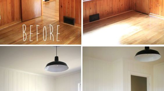Paint wood paneling on pinterest wood paneling makeover Should i paint wood paneling