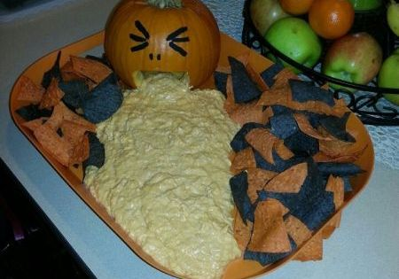 HALLOWEEN: Puking Pumpkin Dip (Make any did you want, Buffalo Chicken Dip,