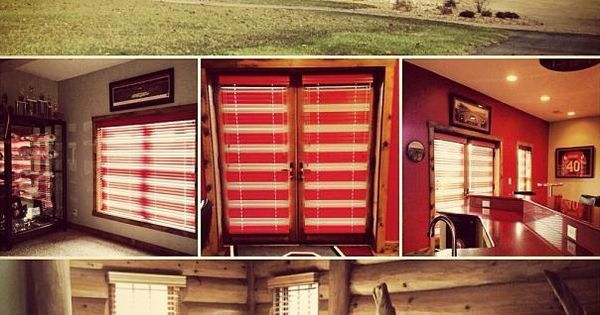 Beautiful log cabin installation by budget blinds home for Log cabin window treatments