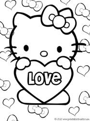 Hello Kitty Valentines Coloring Pages Hello Kitty Coloring