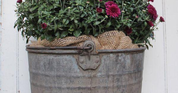 Vintage Zinc Mop Bucket On Wheels With Handle Old