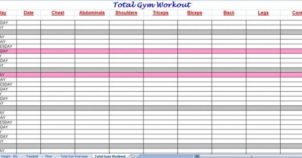 Total Gym Workout Plan the NEW me Pinterest Treeniohjelmat - blank workout sheet