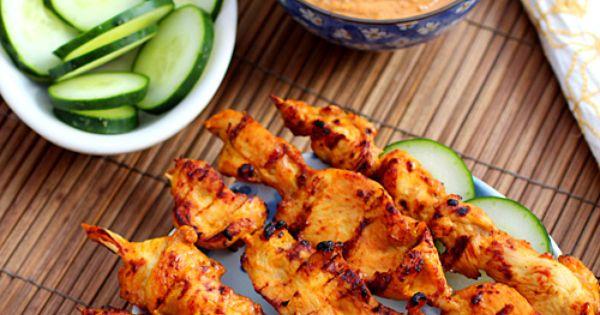 Thai Chicken Sate with Peanut Sauce | Recipe | Thai Chicken, Peanut ...