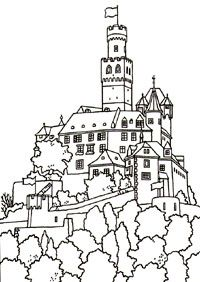 The Marksburg Rheinland Pfalz Germany Castle Coloring Page