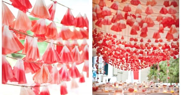 Great DIY idea: Dip-dyed Coffee Filter Garland | Can be customized using