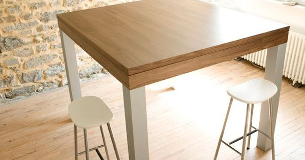 Grande table haute design noyer alu pas cher for Table haute industrielle