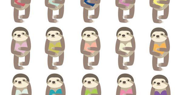 60 OFF SALE Digital Clipart Clip Art Sloth Animal Cute