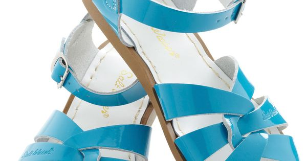 Outer Bank on It Sandal in Turquoise by Salt Water Sandals - Flat, Leather, Blue, Solid, Cutout, Beach/Resort, Summer