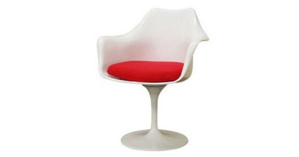 Cyma White Plastic Mid Century Arm Chair With Red Fabric