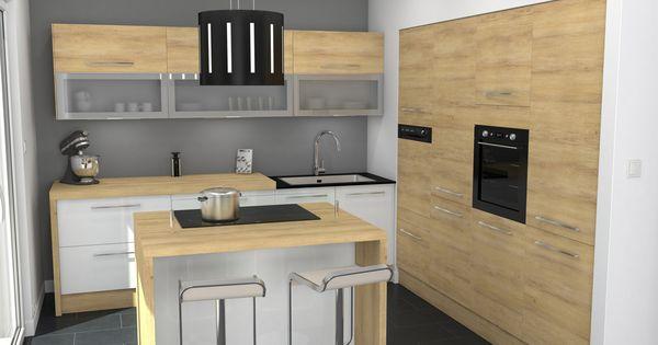 Cuisine blanche et bois design et chaleureuse for Ilot de rangement