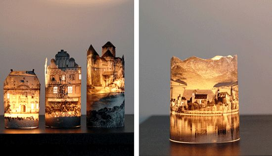paper house candle holders