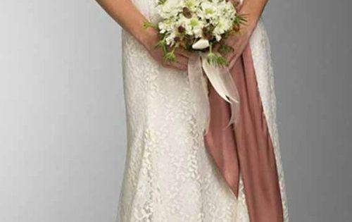 Feminine Halter Lace Wedding Dress For Older Brides Over