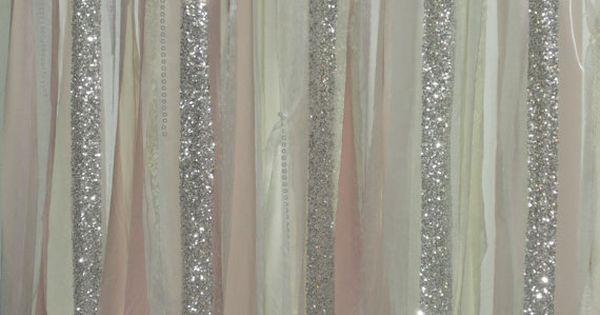 Blush Backdrop Silver Sequin Curtains Fabric Rag Garland ...