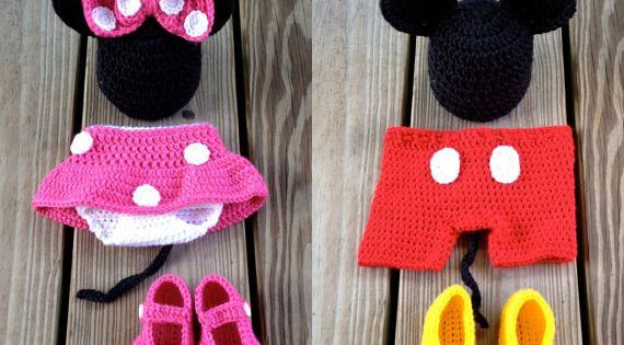 Mickey and Minnie - Instant Download - PDF Both Crochet Mouse Outfit