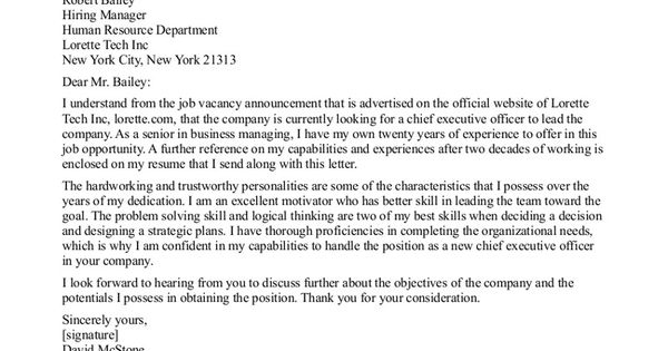 CEO Cover Letter Sample » CEO Cover Letter Sample