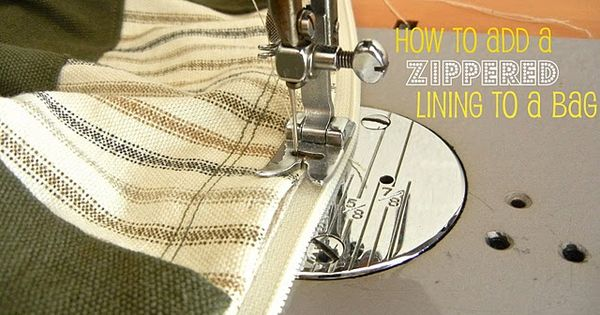 how to add a zippered lining to a purse + how to