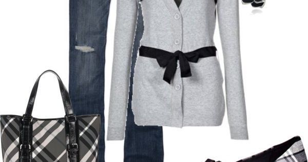 Love this black and grey casual outfit minus the purse
