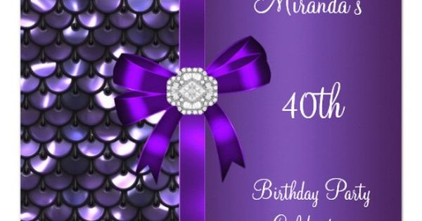 40th Birthday Sequins Purple Diamond Bow Personalized