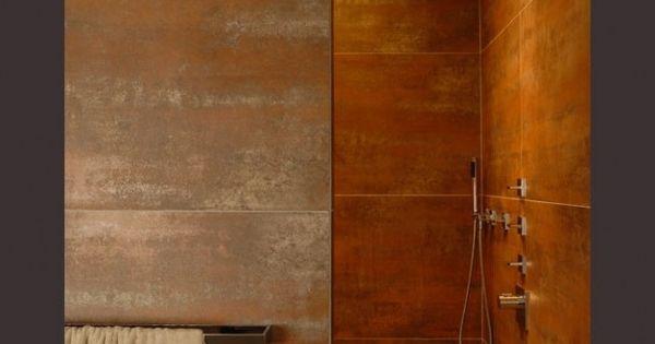 carrelage effet t le rouill e salle de bain pinterest t le carrelage et salle de bains. Black Bedroom Furniture Sets. Home Design Ideas