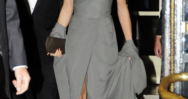 Charlotte Casiraghi looking elegant in a grey dress