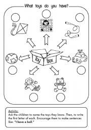 My Toys Dice 2 B W Version English Activities For Kids Teaching English English Activities