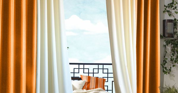 "Solid Orange 84"" Long Gazebo Grommet Top Curtain Panel by Commonwealth ..."