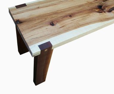 Handmade Hickory Slab And Walnut Bench Wood Bench Design Wooden Bench Contemporary Wood Benches