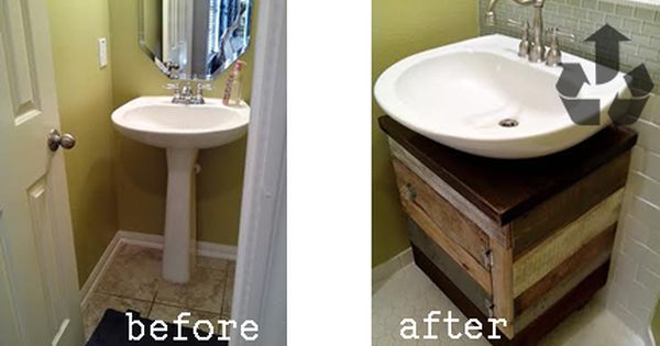Thetadbiteclectic Before And Afters Diy Bathroom Vanity Pedestal Sink Diy Bathroom